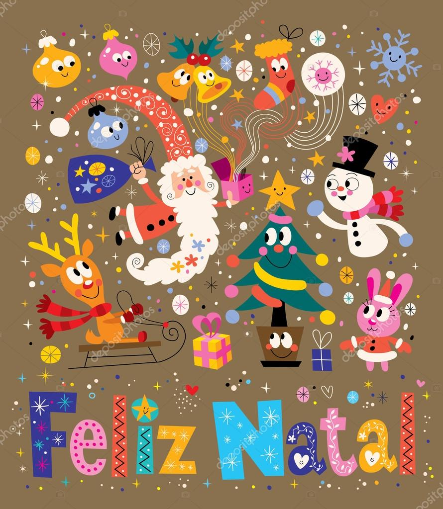Merry Christmas Feliz Natal Portugees Groet Kaart Stockvector