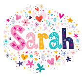Photo Sarah female name decorative lettering type design