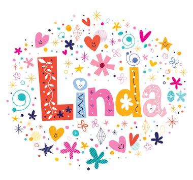 Linda female name decorative lettering type design