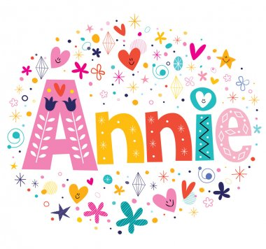 Annie girls name decorative lettering type design