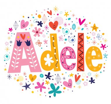 Adele female name decorative lettering type design