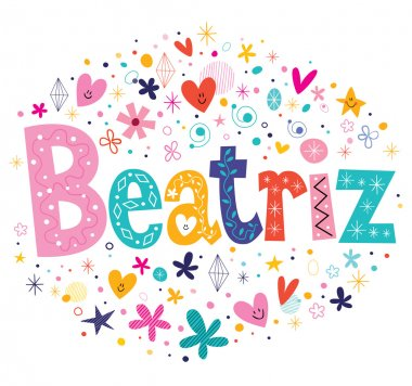 Beatriz girls name decorative lettering type design