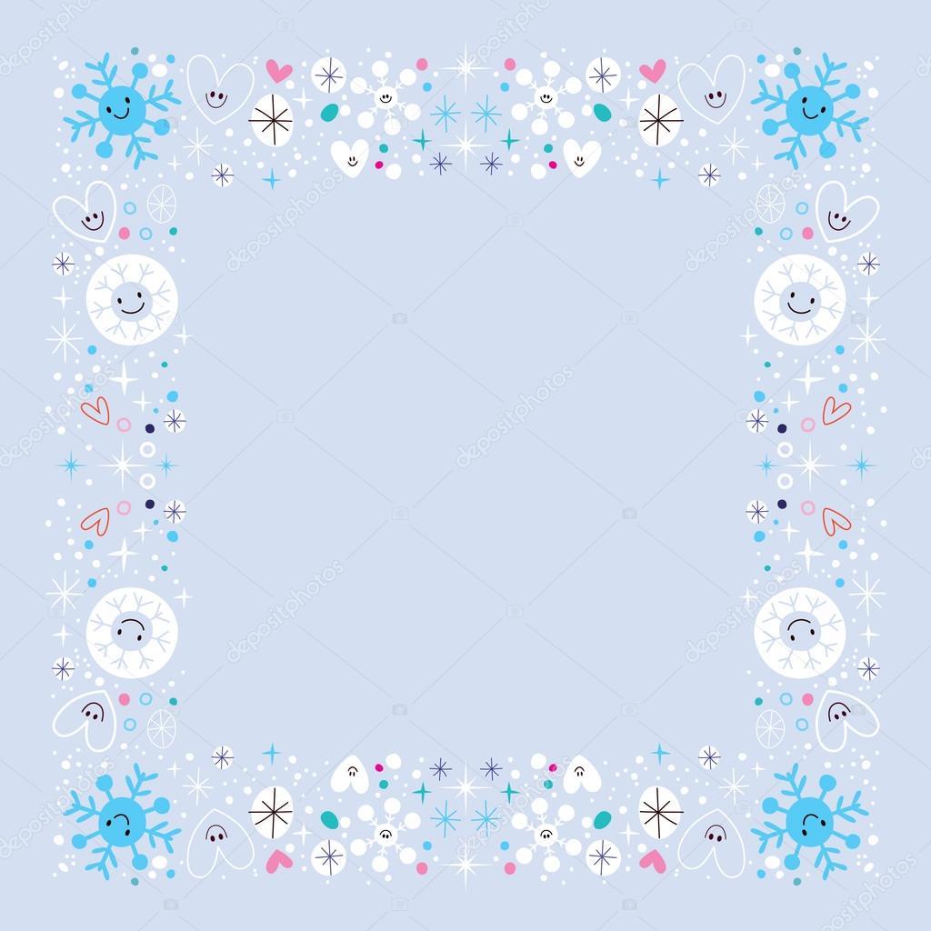 雪の結晶ボーダー冬フレーム デザイン要素 ストックベクター