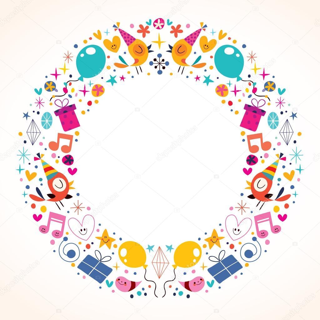 Diseño marco del círculo de frontera con cumpleaños feliz — Vector ...