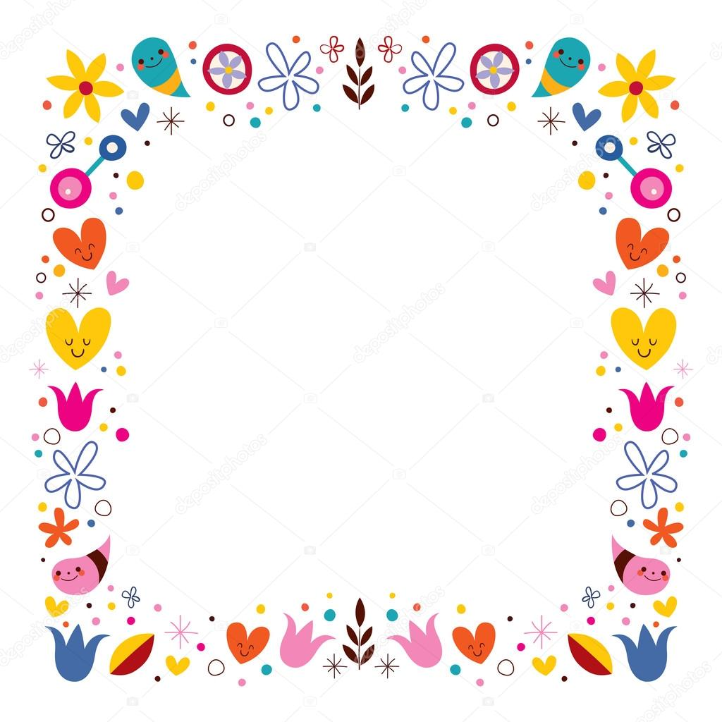 nature love harmony flowers abstract art vector frame border
