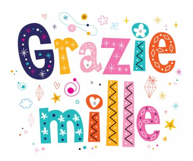 Grazie mille thank you very much in Italian lettering design
