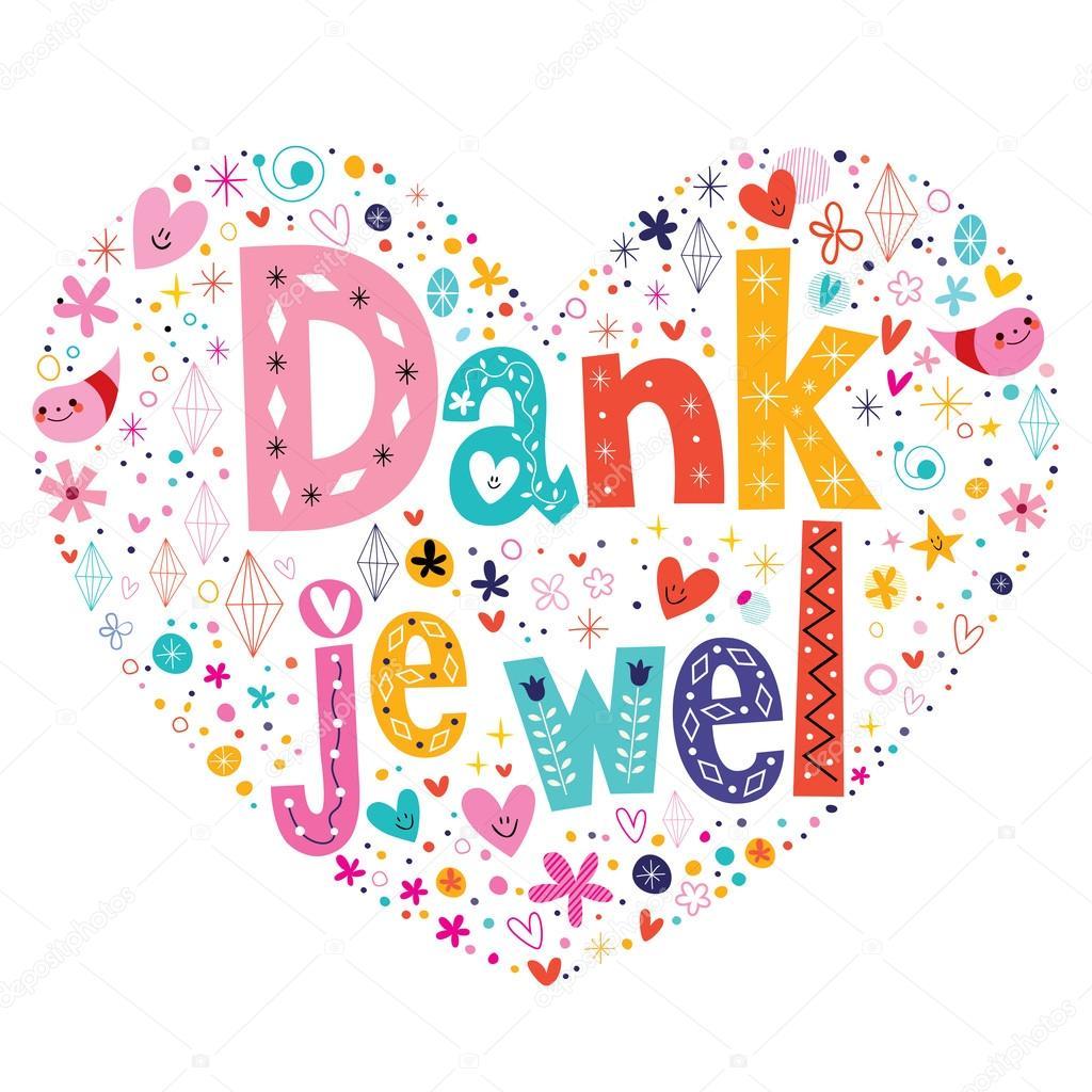 Dank Je Wel Thank You In Dutch Type Lettering Heart Shaped Card