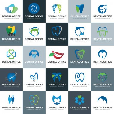 Elegant collection and Colorful modern Dental Logo set pack icon