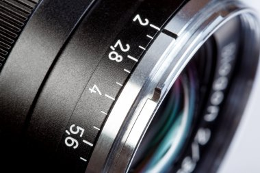 Old lens marking close up.