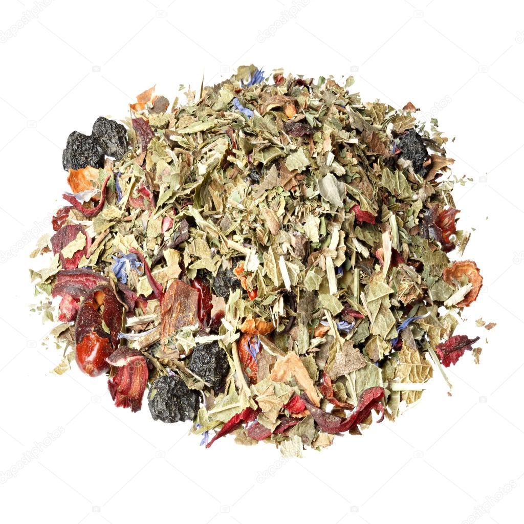 Thé sec à base de plantes avec menthe, baies, fleurs sauvages et herbes .  image libre de droit par yamabikay © #91136298