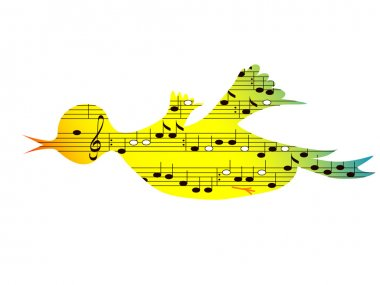 Flying colored songbird, music theme