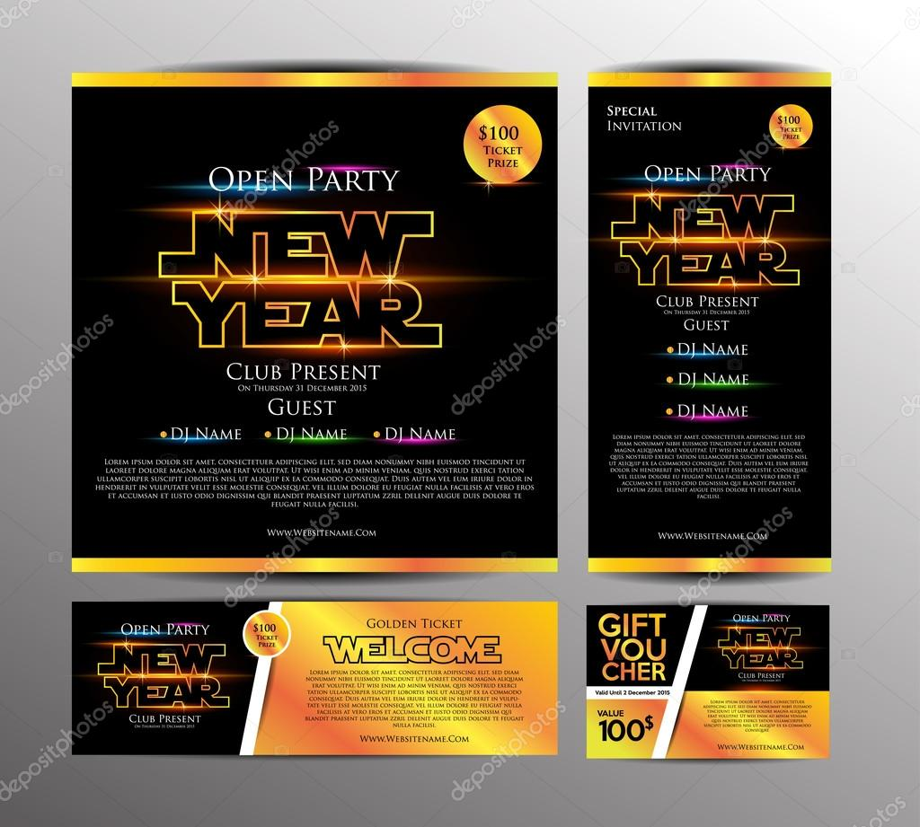 new year party invitation cards stock vector
