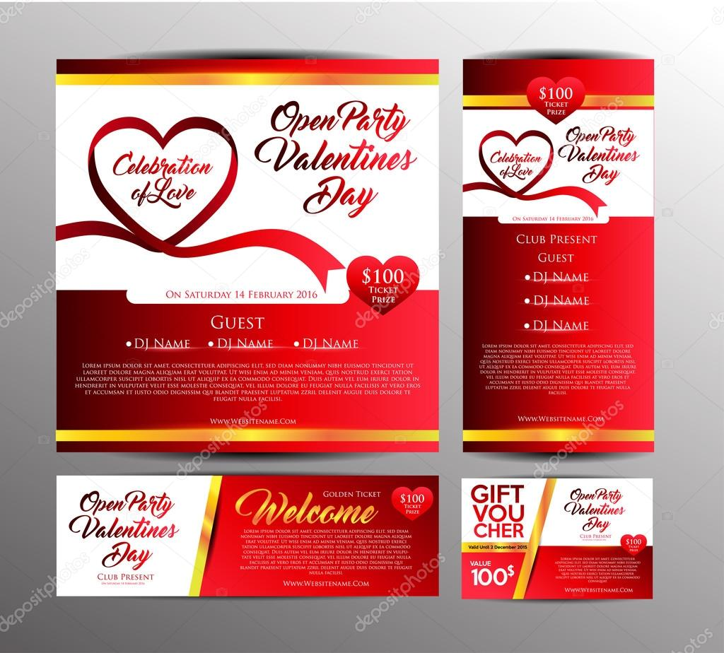 Valentines Day Party Invitation Cards Stock Vector Yugra