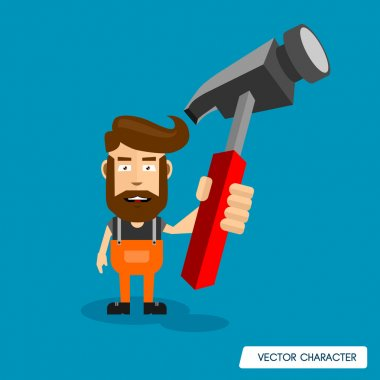 Bearded man with Big Hammer.