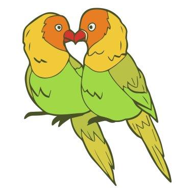 Illustration of lovebirds couple