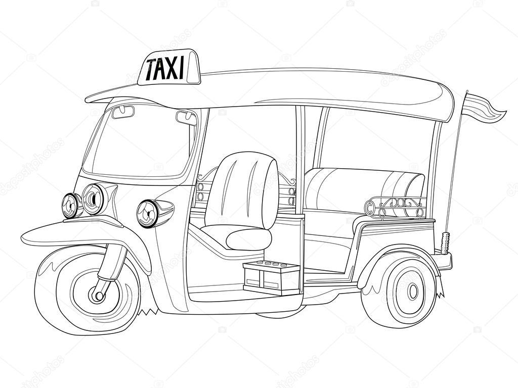 Kleurplaten One Direction Printen.Tuk Tuk Thailand Taxi In Black And White Outline Stock Vector