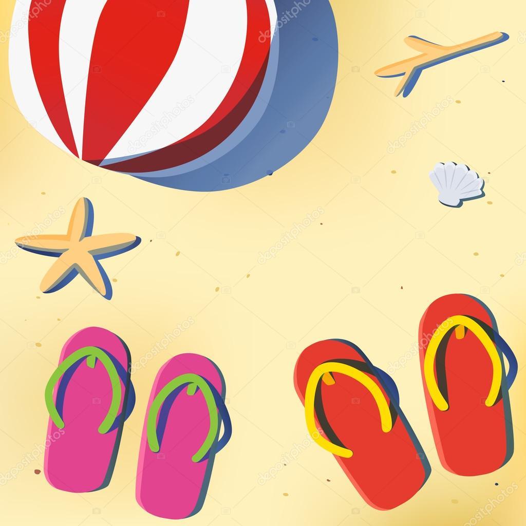 Summer beach with sandal and beach ball