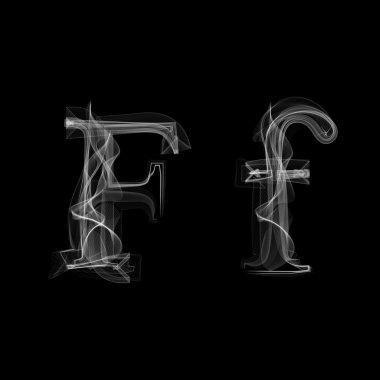 Smoke font. Letter F. Vector illustration alphabet stock vector