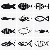 Fotografia Set of creative black fish icons on white background