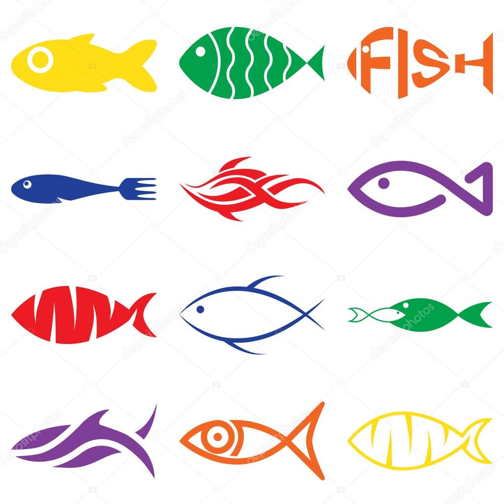 Set of creative colorful fish icons