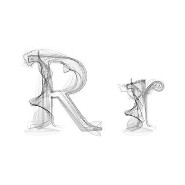 Black Smoke font. Letter R