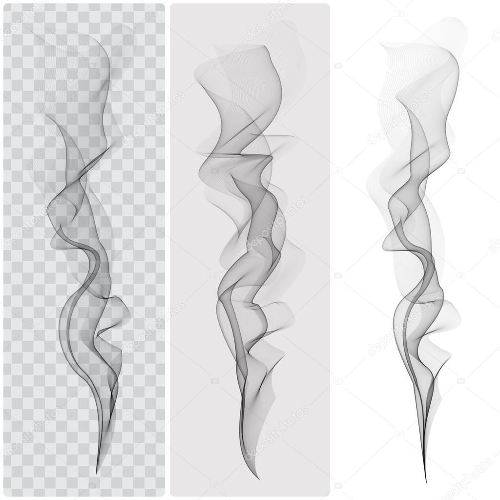 Set of realistic black smoke. Vector