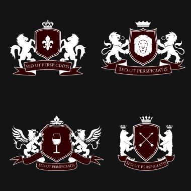 Heraldic signs, elements, insignia. Vector set