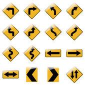 Fotografie Satz von gelben Straße Verkehrszeichen. Vektor