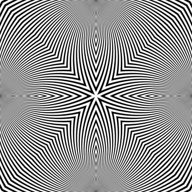 Digital abstract image with a psychedelic circular web pattern producing an optical illusion of movement.