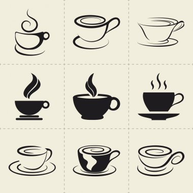 Coffee icons set, also as emblem, such a logo