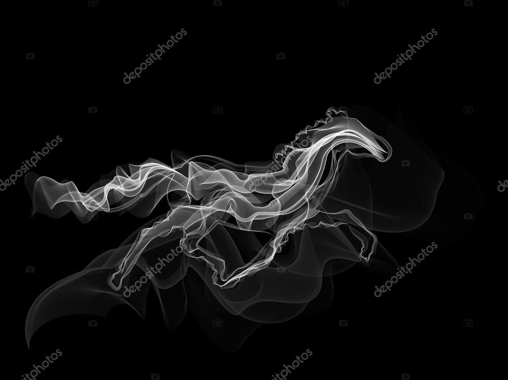 white horse smoke silhouette vector stock vector