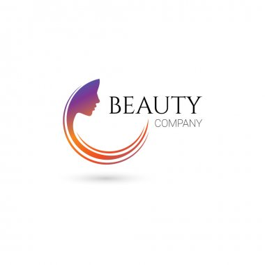 Logo for beauty salon, company with female face and hair clip art vector