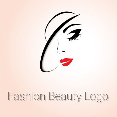 Fashion and Beauty Logo. Womans face with Hat clip art vector