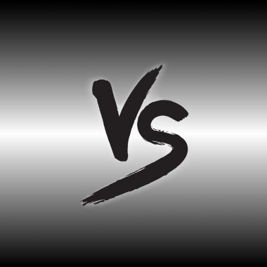 Versus letters logo. Black V and S flat style symbol.