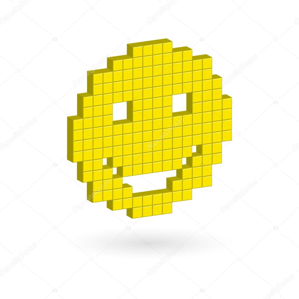 Smiley Face Pixel Art Isometric Yellow Laughing Happy