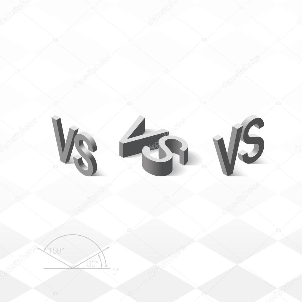 Versus letters logo. Grey V and S isometric symbol.