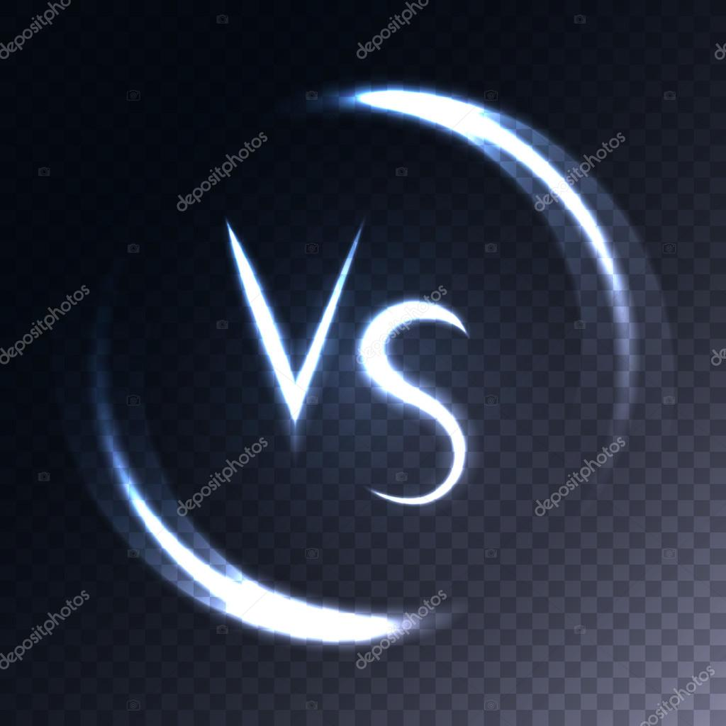 Versus letters luminous logo. Neon V and S flat style symbol.