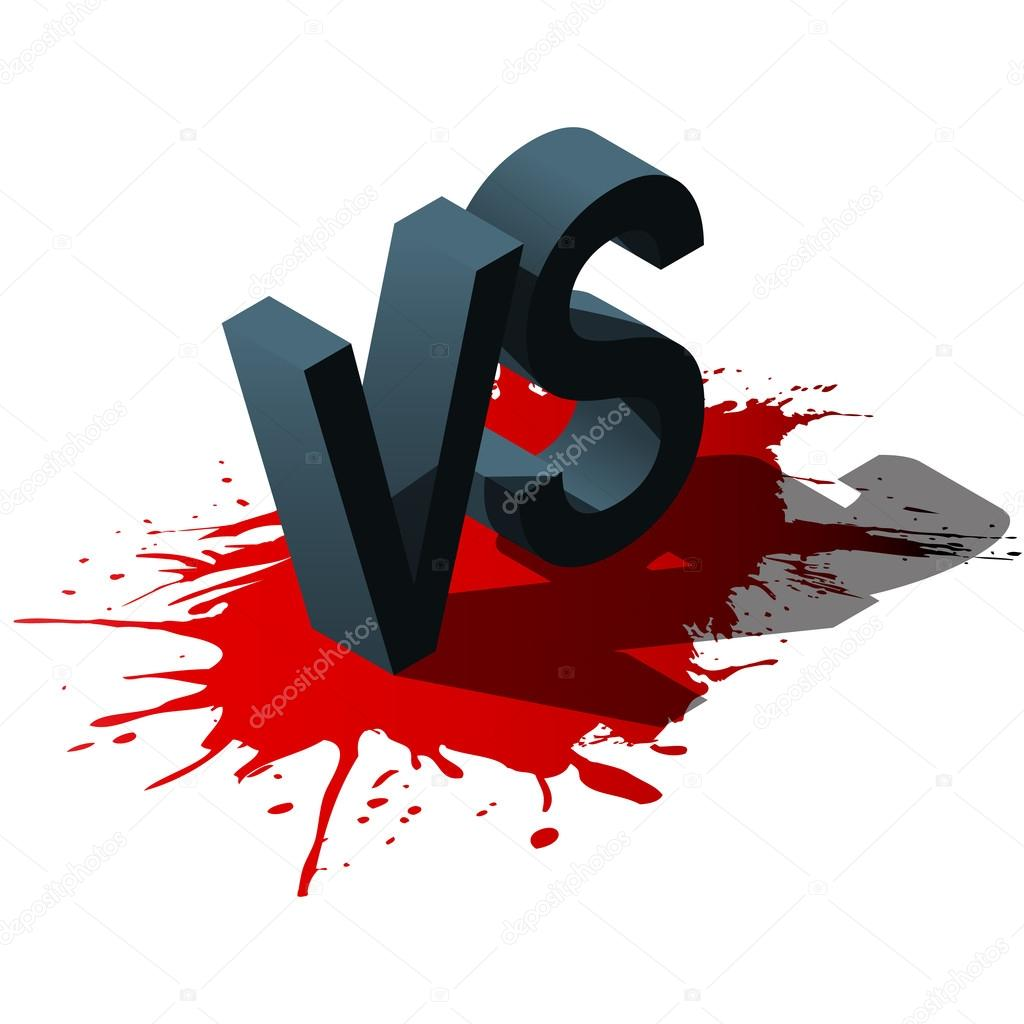 Isometric Versus letters or vs logo isolated on red splash. Vector illustration