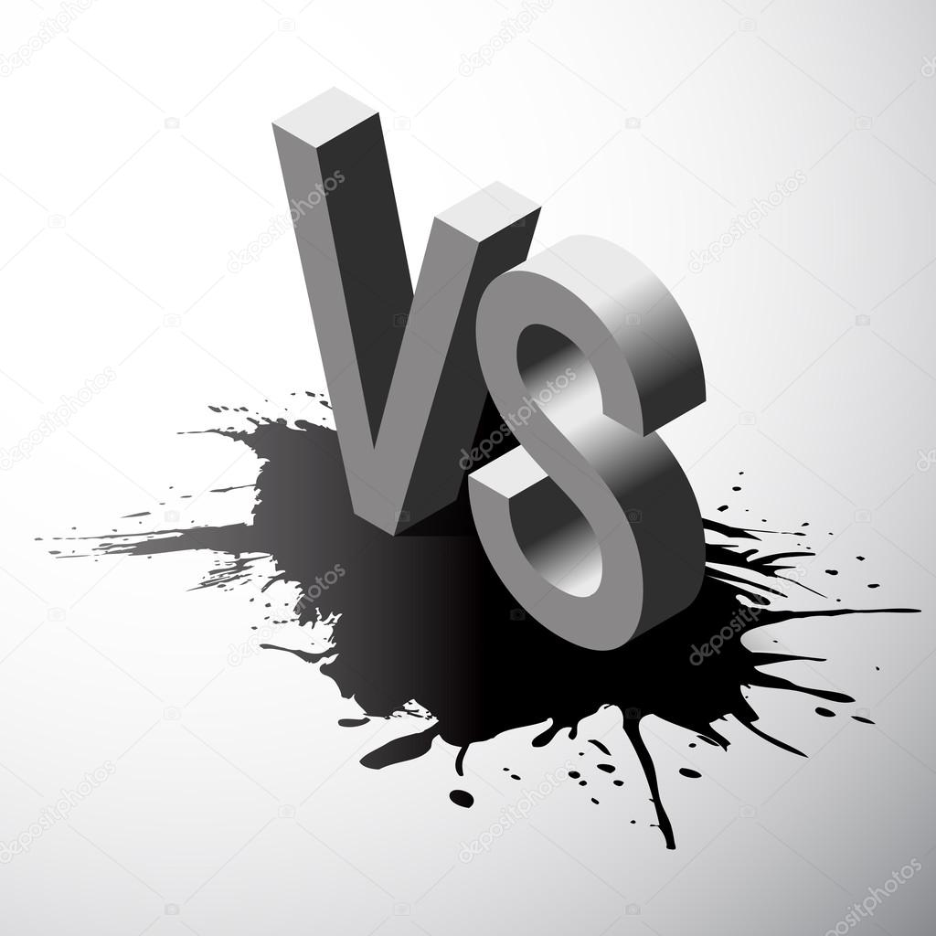 Isometric Versus letters or vs logo isolated on black splash. Vector illustration