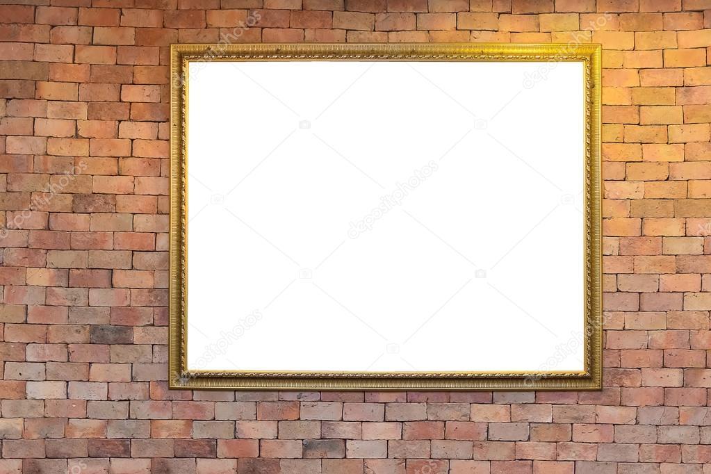 Leere antike Bilderrahmen auf Ziegelwand mit Beleuchtung, warm ...