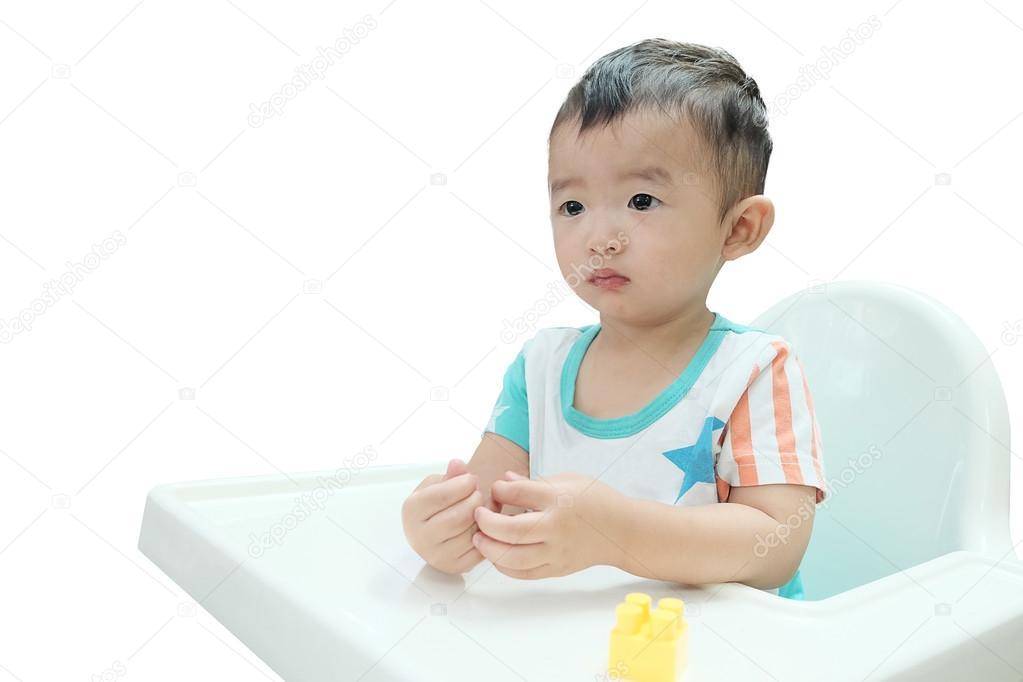 Zitstoel Voor Baby.Hongerige Aziatische Baby In De Stoel Kind Te Wachten Voor De
