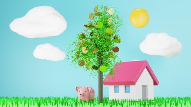 Animační mince padající ze stromu kolem modelového domu a prasečí banky, bankovní úspora peněz na nákup domu koncept, 3d vykreslení. 4K UHD