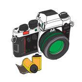 Vintage starý fotoaparát nakreslena vektorové ilustrace