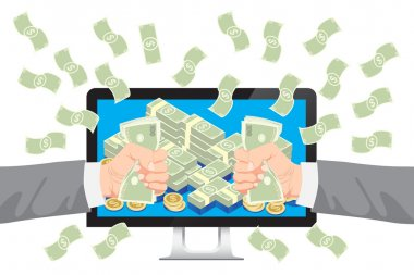 Businessman get money from online business holding dollar in hand with falling money vector. clip art vector