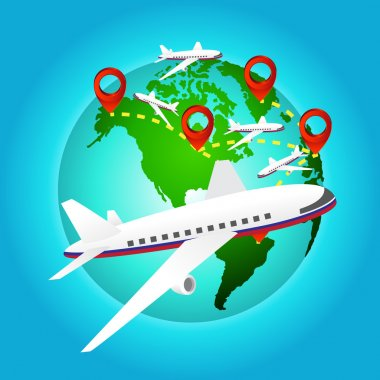 airplane travels around the world with pin icon, Elements of earth map Furnished by NASA