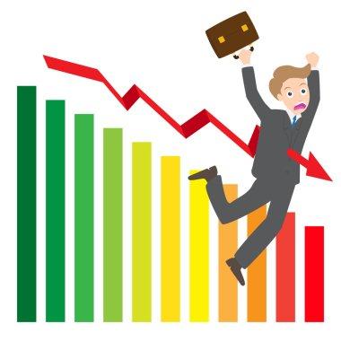 illustration of arrow wave statistics on chart kill businessman vector