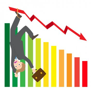 Illustration of hanging businessman on arrow wave statistics on chart vector