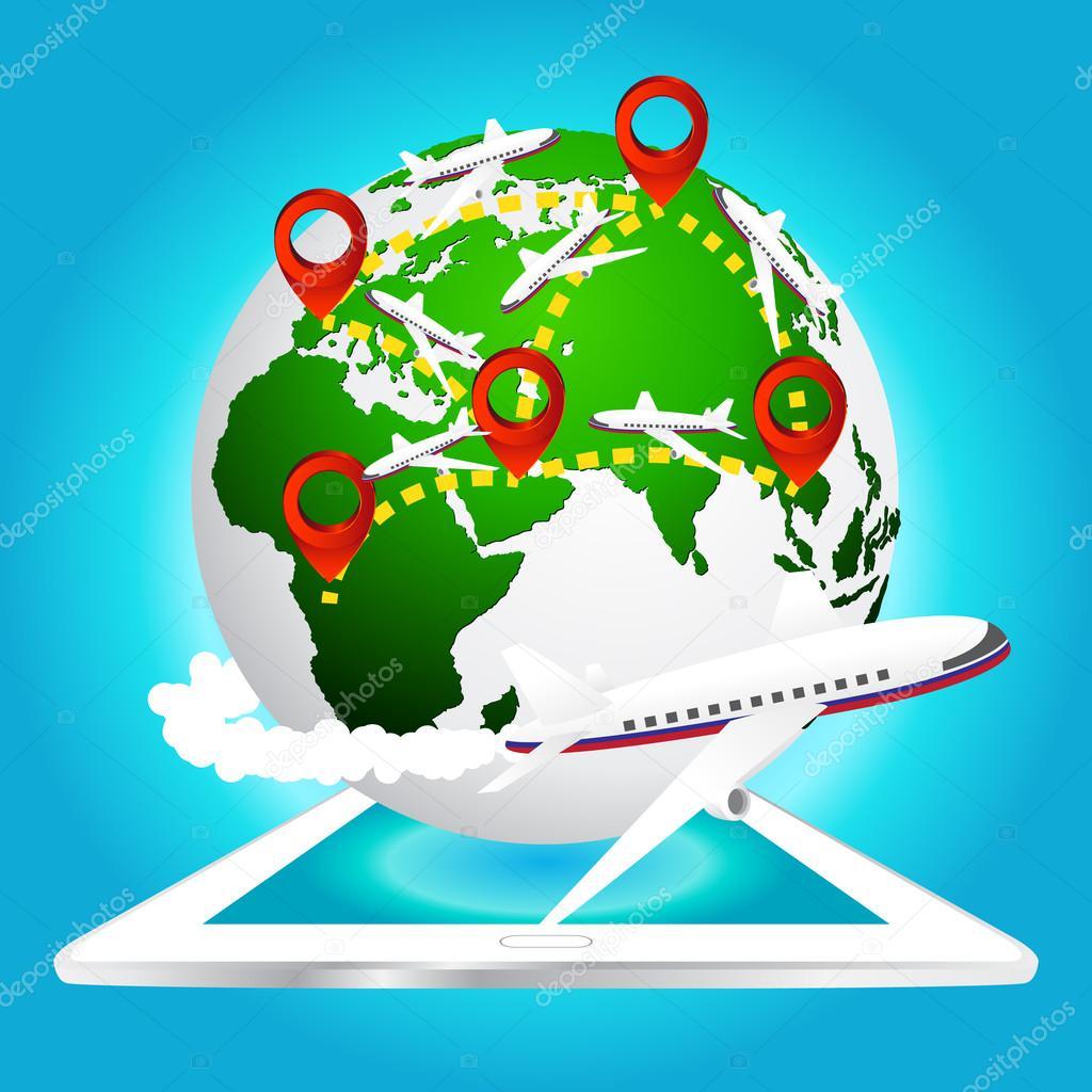 avion voyages autour du monde avec icne broche sur tablette lments de feuille de terre meubl par la nasa vecteur par pookpiik