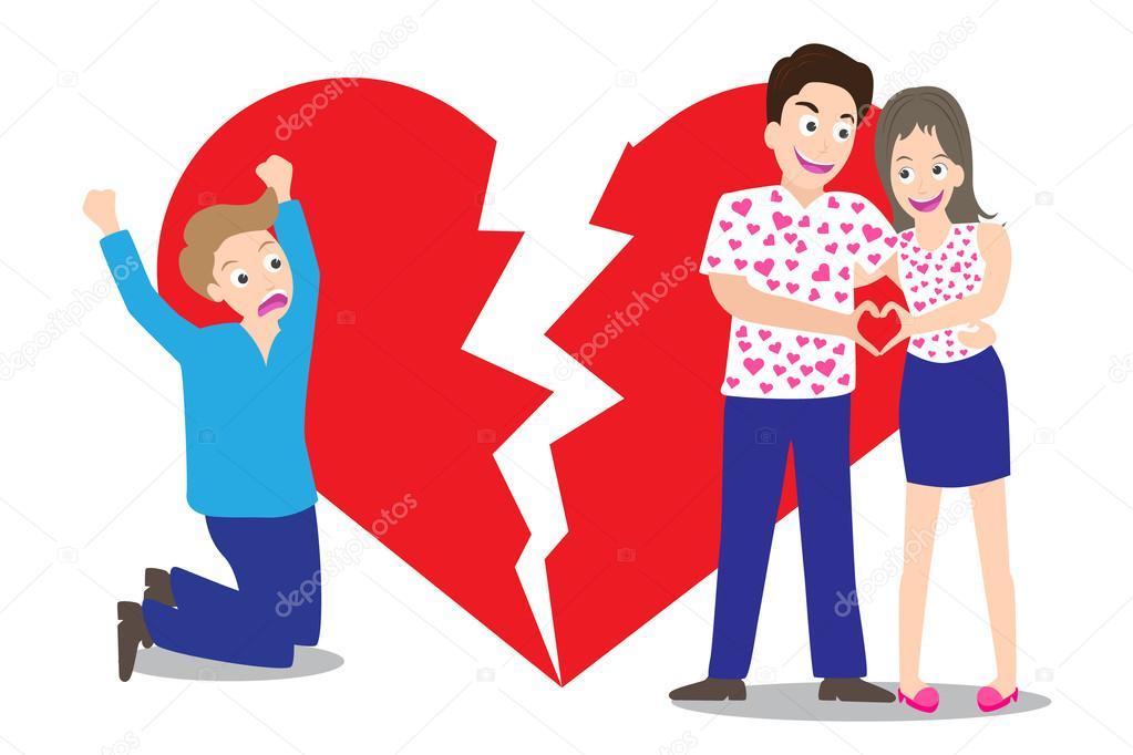 Sad man seeing love couple with broken heart shape background in concept of being broken heart