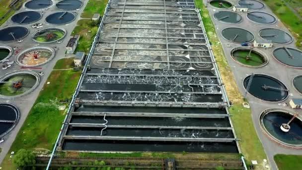 Luftaufnahme der Belüftungsstation, Luftaufnahme der Abwasserbehandlung, Luftaufnahme der modernen industriellen Kläranlage